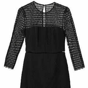Cynthia Rowley black lace embellished dress 6